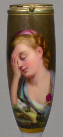 Jean-Baptiste Greuze (1725-1805), Verlorene Jungfräulichkeit, Porzellanmalerei, Pfeifenkopf, D0883