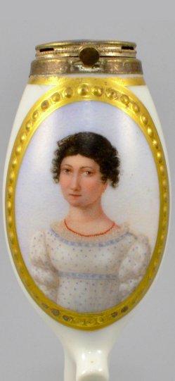Wilhelm August Rieder (1796-1880), Sängerin Louise Raimund, Porzellanmalerei, Pfeifenkopf, D0942