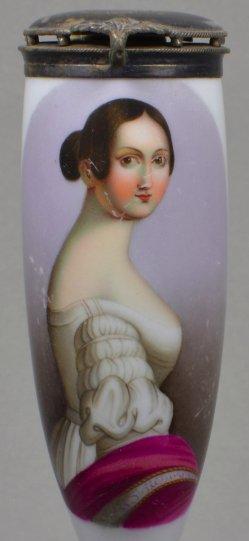 H. Grevedon, Emilie Frühling, Porzellanmalerei, Pfeifenkopf, D1000