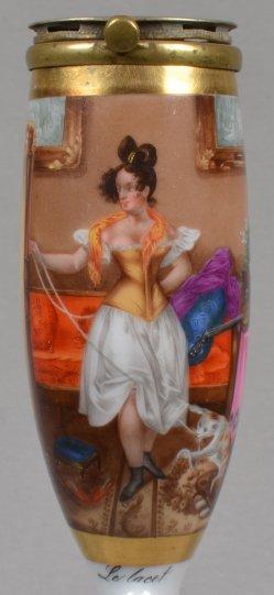 Nicolas-Eustache Maurin (1799-1850), Le lacet, Porzellanmalerei, Pfeifenkopf, D1142