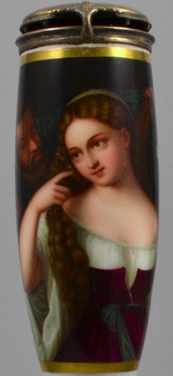 Tizian (um 1477-1576), Junge Frau bei der Toilette. Porzellanmalerei, Pfeifenkopf, D1396