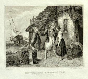 Eduard Schuler (1806 – 1882), Stahlstich, Heiratsantrag auf Helgoland, nach R. Jordan, D1745