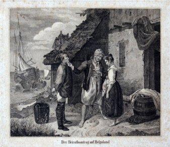 1833 Kupferstich Heirat Helgoland