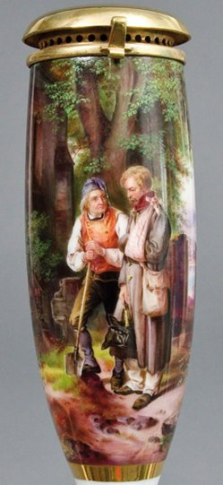 Jakob Becker (1820-1872), Heimkehrender Krieger, Porzellanmalerei, Pfeifenkopf, B0120