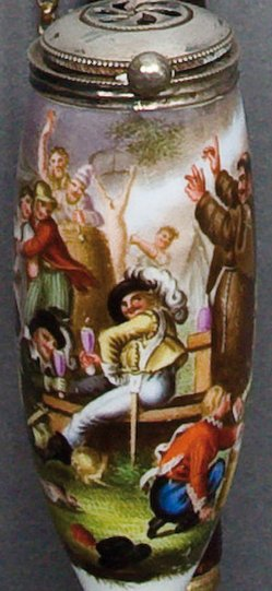 Johann Heinrich Ramberg (1763-1840), Wallensteins Lager, Porzellanmalerei, Pfeifenkopf, B0148