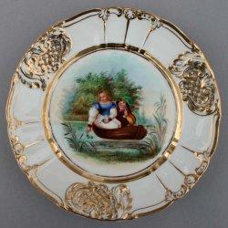 """Ferdinand Theodor Hildebrandt (1804-1874) """"Warnung vor der Wassernixe"""", Porzellanmalerei, Zierteller, D0736-01"""