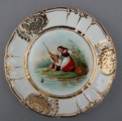 Johann Wilhelm Schütze (1814-1878), Angelnde Kinder, Porzellanmalerei, Zierteller, D0736-02