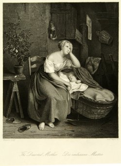 Albert Henry Payne (1812-1902), Die verlassene Mutter, Stahlstich nach Wappers, D1180