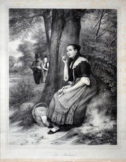 Heinrich Bucker (1812-1873), Die Lauscherin, Lithographie nach F.E. Meyerheym, D1183