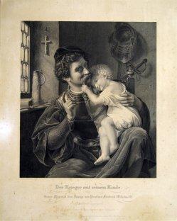 Johann August Eduard Mandel (1810 – 1882), Kupferstich, Der Krieger und sein Kind, nach T. Hildebrandt, D1408
