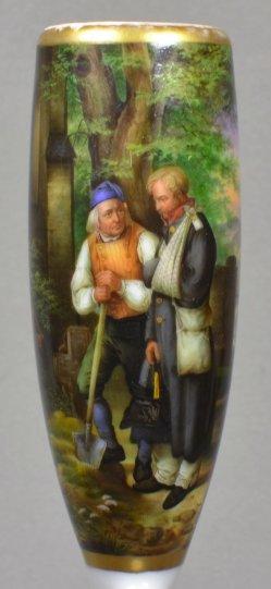 Jakob Becker (1820-1872), Heimkehrender Krieger, Porzellanmalerei, Pfeifenkopf, D1560