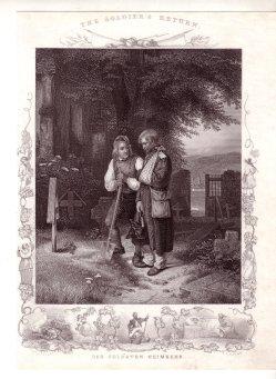 Albert Henry Payne (1812 – 1902), Des Soldaten Heimkehr, Stahlstich nach Jakob Becker, D1568D1568 Heimkehr 400dpi
