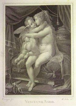 Friedrich John (1769-1843), Kupferstich, Venus und Amor, nach Correggio, D1602