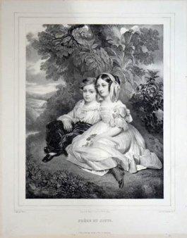 Friedrich Weber (1813-1882), Frére et Soeur, nach F.X.Winterhalter, Lithographie, D1636