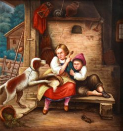 Benjamin Vautier (1829-1898) Der ungebetene Gast, Porzellanmalerei, Bildplatte, D1756