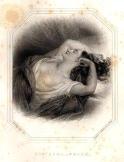 Carl Mahlknecht (1810-1893), Die Schlafende, Stahlstich nach K.J.A. Agricola, A0054 Auszug