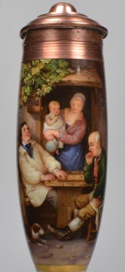 Familienidylle beim Dame-Spiel, Porzellanmalerei, Pfeifenkopf, D2021