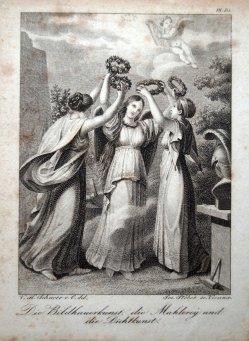 Franz Xaver Stöber (1795-1858) Stahlstich, Die Bildhauerkunst, die Mahlerey und die Dichtkunst, D1632