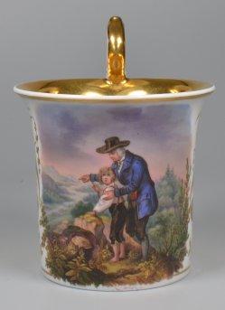 Johann Nepomuk Geiger (1805-1880). Der Waldgänger, Porzellanmalerei, Tasse, D1904
