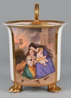 Belagerung von Saragossa 1808/1809, Porzellanmalerei, Tasse, D2027