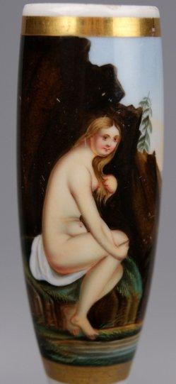 Nackte Badenixe, Porzellanmalerei, Pfeifenkopf, D1192