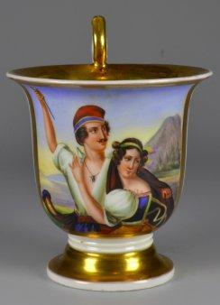 Ludwig Julius Asher (1804-1878), Die Stumme von Portici, Porzellanmalerei, Tasse, D2040