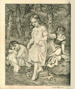 Auguste Hüssener (1789-1877), Kupferstich, Badende Kinder, nach Steinbrück, A0078