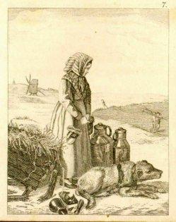 Auguste Hüssener (1789-1877) zugeschrieben, Kupferstich, Kinderarbeit im Winter, A0089