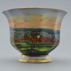 Buckauer Porzellanmanufaktur, Ansichtentasse Sondershausen und Untertasse um 1845, D0515-102-.._bearbeitet-1
