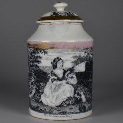 Chocolatiére, Gießhübel (Bohmen), Umdruck glasiert um 1850, D1624