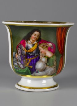 Dame mit Spiegel und Galan, Porzellanmalerei, Tasse, Heyroth, D2054