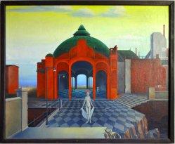 Manfred Kastner (1943-1988), Gemälde , Hommage a Delvaux, D0096