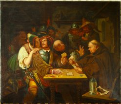 Richard Burnier (1826-1884), Gemälde, Kartenspieler (Variante 2), 1843, nach Karl Schorn, D0050