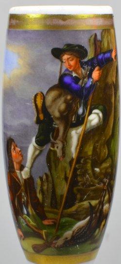 Wilderers Abstieg aus dem Hochgebirge, Porzellanmalerei, Pfeifenkopf, D2053