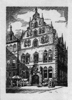 Willy Knabe (1896-1967), Federzeichnung, Das Gebäude der Handelskammer, (Magdeburg)