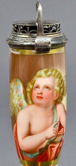 Anton Raphael Mengs (1728-1779), Amor, seine Pfeile schärfend, Porzellanmalerei, Pfeifenkopf, B0099