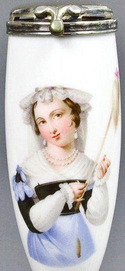 Franz Xaver Stöber (1795-1858), Frau mit Handspiegel, Porzellanmalerei, Pfeifenkopf, B0038
