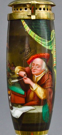 Gerard Dou (1613-1675), Der alte Schulmeister, Porzellanmalerei, Pfeifenkopf, B0104