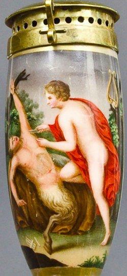 Guido Reni (1575-1642), Apollo häutet den Marsyas, Porzellanmalerei, Pfeifenkopf, B0105