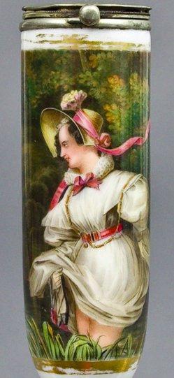 Nicolas-Eustache Maurin (1799-1850), Flut durchwatende Dame, Porzellanmalerei, Pfeifenkopf, B0081