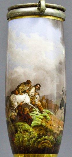 Peter von Hess (1792-1831), Pferdefang in der Walachei, Porzellanmalerei, Pfeifenkopf, B0127