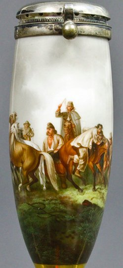 Peter von Hess (1792-1831), Walachischer Pferdefang, Porzellanmalerei, Pfeifenkopf, B0124