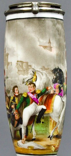Pierre Gautherot (1765-1825), Napoleons Verwundung vor Regensburg, Porzellanmalerei, Pfeifenkopf, B0018