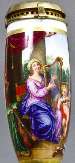 Pierre Mignard (1610-1695), Heilige Caecilia, Porzellanmalerei, Pfeifenkopf, B0098