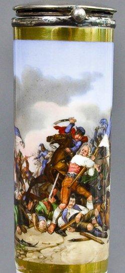 Wilhelm Lindenschmit (1806-1848), Sedlinger Bauernschlacht, Porzellanmalerei, Pfeifenkopf, B0010