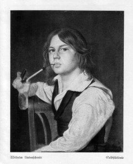 Wilhelm Lindenschmit (1829-1895), Selbstbildnis mit Gesteckpfeife, Gemälde, D2057