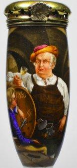 Adolf Schrödter (1805-1875), Die Rheinweinprobe, Porzellanmalerei, Pfeifenkopf, D2059