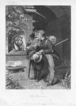 """Albert Henry Payne (1812-1902), Stahlstich, """" Die Passrevision"""", nach J. Wild, D2036"""