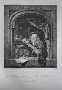 Albert Henry Payne (1812-1902), Stahlstich, Der Schreibmeister, nach Dou, D1611-65
