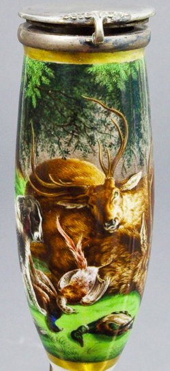 Benno Adam (1812-1892), Jagdstrecke mit Hunden, Porzellanmalerei, Pfeifenkopf, B0188